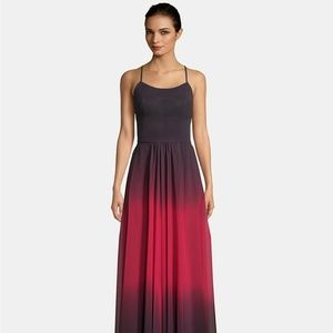Betsy & Adam Lace-Up Ombré Chiffon Gown Black/Red